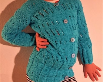 knit sweater with buttons, Handknit blue childs cardigan, Girls sweater, Sweater with patterns, Handknit cardigan, Handmade cardigan