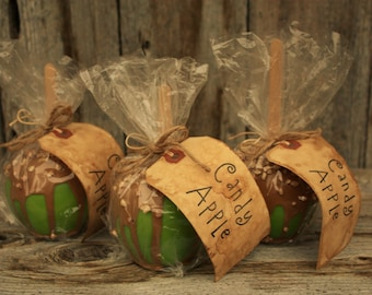 Faux Caramel Candy Apple with Nuts Fall Handmade Faux Food Zero Calories