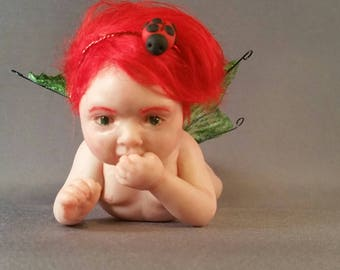 Ooak one of a kind polymer clay hand sculpted fairy faerie fae rose petal baby