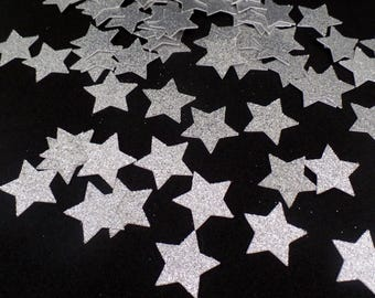 Silver Glitter star Confetti  (100 pieces) Die Cut - twinkle twinkle, baby shower, first birthday Table Decorations