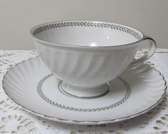 Vintage Teacup with Saucer Jaeger, Stratford Gray Laurel Pattern, Tea Cup Set, Replacement China, Tea Cup Replacements