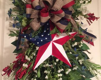 Patriotic Wreath Swag, Door Wreath, Red White & Blue, Memorial Day, Fourth of July