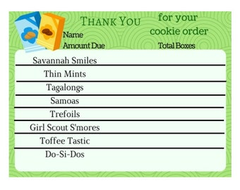 Girl Scout Cookie Thank you Order Card