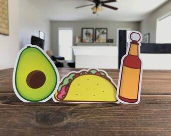 Taco, Hotsauce, Avocado 3-pack die-cut stickers