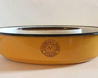 Yellow Cream City Ware jello mold