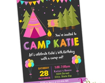 Camping Birthday Invitation , Girl Birthday Invitation