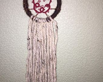 Pink hand tatted floral dream catcher