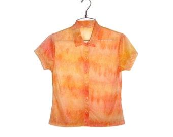 SALE 25% OFF - Y2K Peach Tie Dye Sheer Short-sleeve Blouse