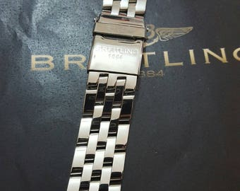 20mm replacement stainless steel bracelet with deployment clasp fits to navitimer breitling watches.