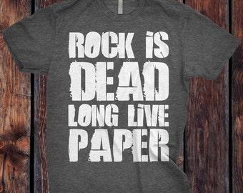 Rock Paper Scissors - Rock is Dead Custom T-Shirt - Ink Printed