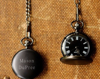 Monogrammed Pocket Watch, Personalized Pocket Watch, Midnight Pocket Watch, Engraved Pocket Watch