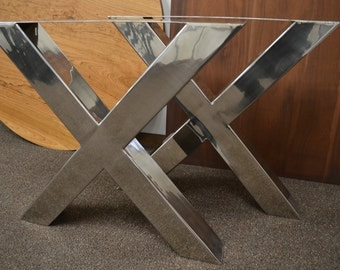 Polished Stainless Chrome X-Frame Table/Bench/Desk Legs
