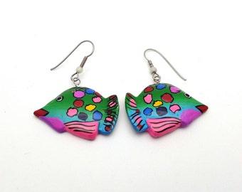 Fish Painted Wood Dangle Earrings Multicolored Drop Earrings Vintage Handmade Tropical Fish Ocean Sea Island Hawaiian Earrings