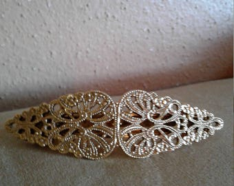 GOLDEN tone HAIR CLIP/ barrette,  made in France