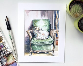 GIclee Lurcher print, Lurcher dog, dog print, Dog picture, Dog watercolour, Lurcher picture, Dog art, Dog present, Dog gift, Dog wall art