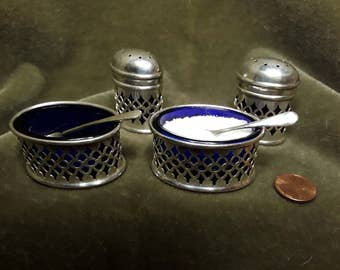 1920's English pierced silverplate and Cobalt glass Salt cellars and Pepper pots