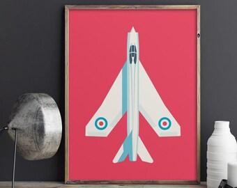 English Electric Lightning Cold War Jet Fighter Aircraft Poster Art Print