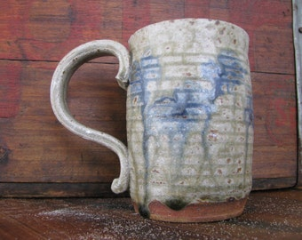 Green and Blue Runny Ash Mug- Handmade Pottery Mug, 10-12 oz Great for coffee or tea
