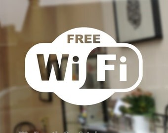 Free WiFi Decal Free WiFi Sticker Wi Fi Window Decal