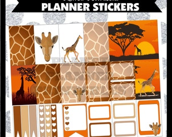 Giraffe Pattern BHP Big Happy Printable Planner Stickers Digital