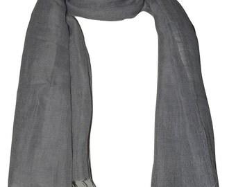 Hand spun, Handwoven 75% Linen & Pure Organic Cotton Fabric Scarf .X1430 USPS 2 day.