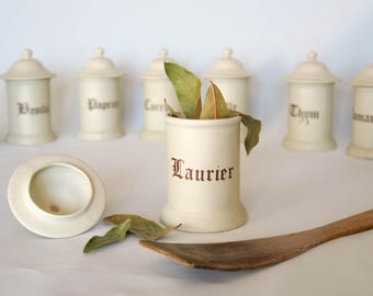 Set of 8 Lovely Vintage Kitchen Canisters Set, Spices Jars, Storage Canisters, Italic Font, Beige & Brown, Kitchenware, Made in France, 1960