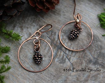Pinecone Copper Hoop Earrings, Rustic Pinecone Earrings, Copper Hoop Earrings, Copper Jewelry, Hoops, Copper Hoops, Pinecone Earrings