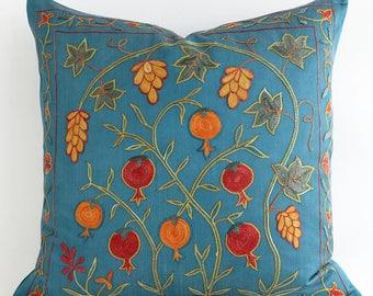SALE 30% - Hand Embroidered Silk Uzbek Teal Suzani Pillow, Teal, Turquoise Decorative Pillow, Suzani Pillow, Teal Pillow, Throw Pillow