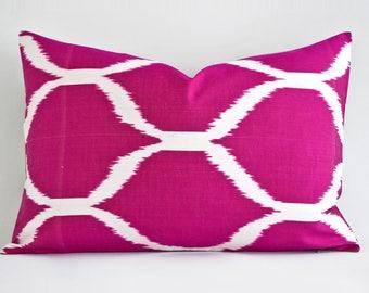 Handwoven Silk Pink Ikat Pillow - Organic shine Silk Neon Pink Pillow Designer Throw Pillow Decorative Throw Pillow Couch Hot Pink Pillow