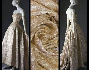 Custom Made 1950's Champagne Strapless Sequin Dress