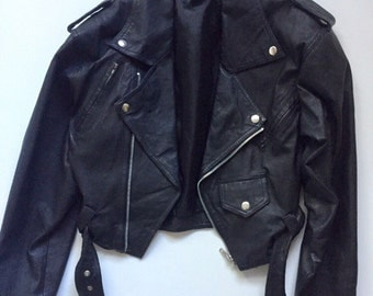Vintage Biker Jacket 1980s Black leather Motorcycle Star Cody size Small