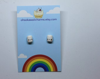 Kawaii happy mini marshmallow earrings.