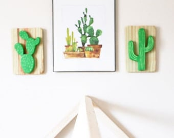 Cacti Wood Wall Art, folk art, artesanal kids room decor, Texas decor, western decor, rustic wall decor, cactus decor