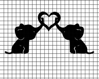 2 Baby elephants holding heart SVG/DXF/download for Cricut and Silhouette