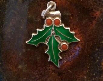 Enamel mistletoe vintage sterling charm, mistletoe vintage sterling pendant