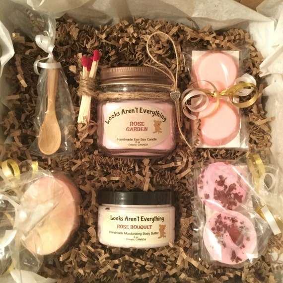 Handmade Pack Basket : Gift pack basket rose scented body products homemade