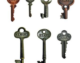 7 Tim Holtz Word Keys - 3 Antique Finishes