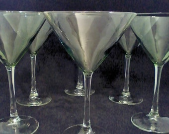 Martini Glasses Green Clear Stems Set of 6