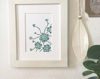 Block Print, Chinese Dunce Cap succulent print, FREE SHIPPING in US, matted for 8x10 frame