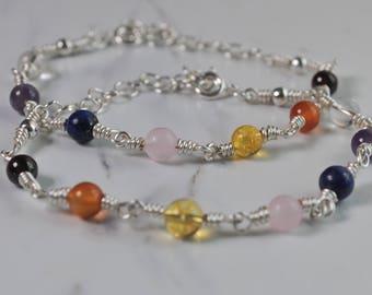 Chakra gemstone wire wrapped bracelet