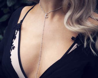 KOKO. Silver Crescent Fancy Chain Lariat Necklace
