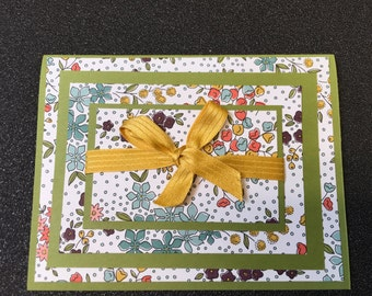 Handmade Stampin Up Flowered note card