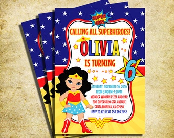 Wonder Woman Invitation - Wonder Woman Clipart Birthday Party Invite - Printable And Digital File