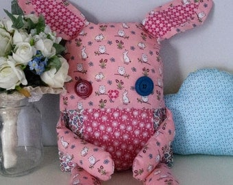 Custom Patchwork Bunny - 100% Cotton - Floral/Patterned