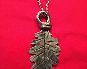 Hand forged iron oak leaf