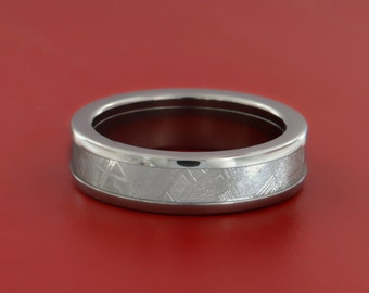 Authenticated Scandinavian Meteorite Inlaid Titanium Ring with Protective, Precious Metal Rhodium Coating-5MM Flat