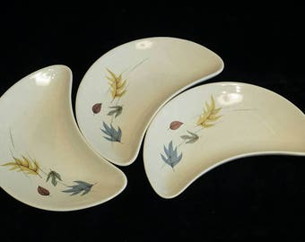 Vintage Franciscan Earthenware. Autumn Leaves Pattern Earthenware Crescent Plates.