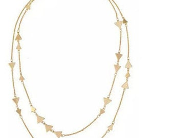 Pretty Golden Double Layer Necklace NK7031
