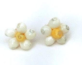 Seashell Earrings - Beach Jewelry - Seashell Flower Earrings, Gift For Her, Coastal Jewelry, Beach Wedding Jewelry, Seashell Jewelry