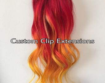 Red Fire Custom Clip in Hair Extensions, Red Extensions, Yellow Extensions, Human Hair Extensions, Custom Made Extensions, Red Hair, Clip in